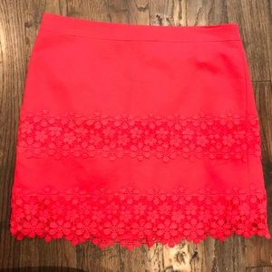 Red Lace JCrew Skirt